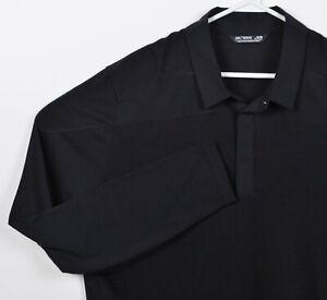 Arc'teryx Men XL Solid Black Snap Collar Merino Wool A2B Long-Sleeve Polo Shirt