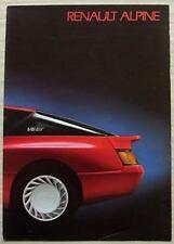 RENAULT ALPINE Car Sales Brochure c1986 FRENCH TEXT #25 101 05