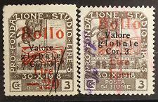 2 marche da bollo Fiume 1920. Valori: 0,20, 1 L Sovrastampa valore in ross #lt94