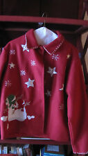 Take Two Red Flannel ladies jacket Christmas Decor Snowmen UGLY SWEATER PARTY