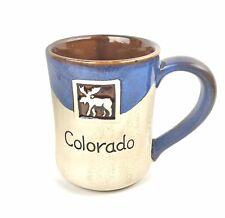 Stoneware Pottery Glazed Coffee Cup Mug Colorado Moose Handmade Rustic 20oz