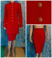 ST. JOHN Evening Knits Red Jacket Skirt L 12 10 2pc Suit Buttons Collar Pockets