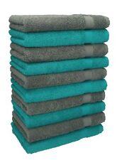 Betz Lot de 10 serviettes débarbouillettes Premium vert émeraude gris anthracite