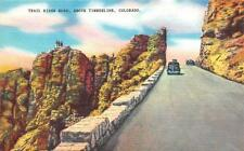 Timberline, Co Colorado Cars On Trail Ridge Road c1940's Linen Postcard
