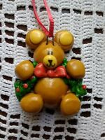 Vtg Teddy Bear Christmas Ornament Wreath Holly Animal Hanging Tree Decor
