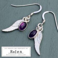 925 Sterling Amethyst Charm, Tibetan Silver Wing Earrings 925 silver hooks Wicca
