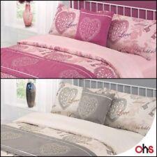 Linge de lit et ensembles gris avec des motifs Cœurs pour chambre