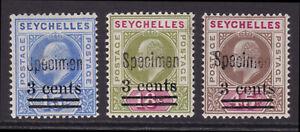 Seychelles. 1903. SG 57s-59s. Specimens. Fine mounted mint.