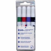 4 Whiteboard Dry Wipe Marker Pens Bullet Tip Non-Toxic Ink Assorted Colours Pack