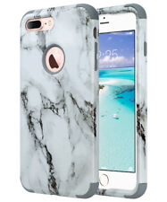 iPhone 7 Plus 8 Plus Marble Case Hybrid Slim Rubber Waterproof Defender PC Cover