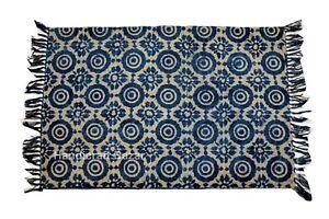 Indigo Home Decor Handblock Print Area Rug Carpet Dhurrie Floor Yoga Mat 2x3'