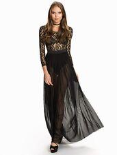New Ladies Plus Size Black Sheer Lace Long Sleeves Dress Size XL UK 14