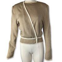 Vintage St John By Marie Gray Crossover Tan Sweater Jacket W/ Cream Trim, Sz M