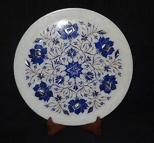 "12"" Decorative Marble Plate Floral Mosaic Lapis lazuli Marquetry Pietra Dura Art"