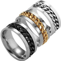 1X Fashion Women Mens Steel Rotatable Chain Band Ring Finger Spinner Ring Toys