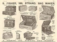 1900 ANTIQUE PRINT - ADVERT-S FISHER BAGS AND CASES
