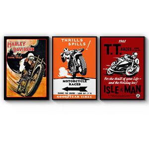 Set of Vintage Motorcycle Harley Davidson Man Cave Art Poster Print A3 A2 A1 A0