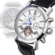 Jaragar luxury Men's Day/Week Tourbillion Auto Mechanical Blue hands watch