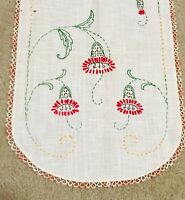 Vintage Hand Embroidered Cotton/Linen Dresser Scarf Doily, w/ Red Flowers