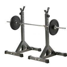 Pair of Adjustable Standard Solid Steel Squat Stands Barbell Free Press Bench LT