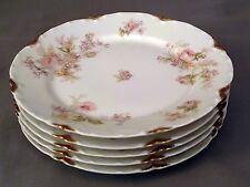 FIVE Haviland Bread & Butter PlateS - Pink/Yellow Roses-Lilacs UID