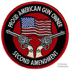 PROUD AMERICAN GUN OWNER iron-on PATCH 2nd AMENDMENT SINGLE ACTION embroidered
