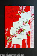 #D301- Vintage Unused Valentine's Day Greeting Card Shabby Pink Roses