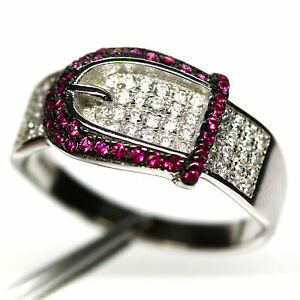 AAA WHITE - PINK CUBIC ZIRCONIA RING 925 STERLING SILVER SIZE 9