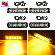 4X 6 LED Amber Car Truck Emergency Beacon Warning Hazard Flash Strobe Light Bar