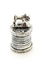 More details for solid 925 sterling silver thimble, sewing machine design