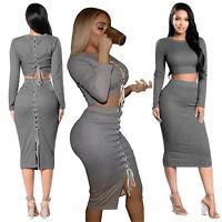 Sexy Women Bodycon Bandage Two Piece Dress Set Long Sleeve Crop Top + Midi Skirt