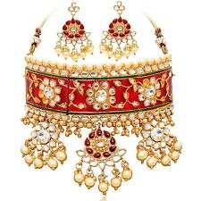 Indian Bollywood Padmavati Wedding Gold Plt Choker Kundan Meenakari Necklace Set