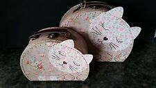 Sass & Belle Set of 2 Floral Friends Jessie The Cat Suitcases