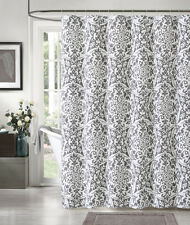 "100% Cotton Silver and White Fabric Shower Curtain: Medallion Design, 72"" x 72"""