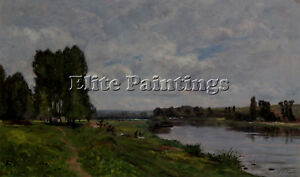 DELPY HIPPOLYTE CAMILLE WASHERWOMAN RIVERBANK ARTIST PAINTING OIL CANVAS REPRO