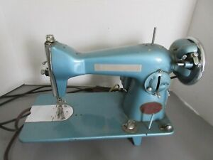 Old Vintage White Brand Sewing Machine Metallic Blue Color #755 w/Foot Pedal