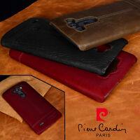 For LG V10 G4 G5 G6 V20 Pierre Cardin Genuine Leather PC Cover Hard Back Case