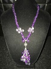 Gems tv sterling silver & amethyst & rose de france beaded tassel necklace bnwt