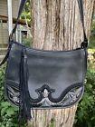 BRIGHTON Southern STAR Fringed Floral SILVER Western LG. Leather Shoulder Bag