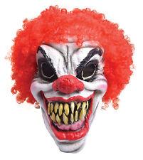 Mens Scary Halloween Horror Clown Mask Rd Hair (Foam) Adult Fancy Dress Masks