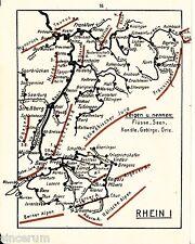 Rhein 1930 kl. Lernkarte Main Neckar Nahe Murg Ill Kinzig Aare Reuß Thur Jagst