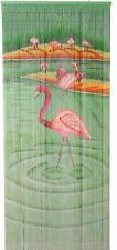 Bamboo Bead Curtain Room Divider Tropical Flamingoes Wall Hanging Doorway Panel
