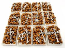 100 x OLIVE WOOD ROSARY BEADS NECKLACE WITH CROSS JERUSALEM SOIL WHOLESALE LOT