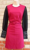 FLORENCE AND FRED BURGUNDY BLACK LONG SLEEVE BEADED PENCIL BODYCON DRESS 6 XS