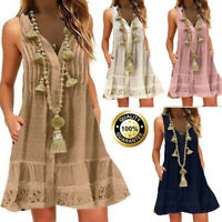 Womens Summer Loose Casual Baggy V-Neck Lace Solid Sleeveless Mini Dress S-5XL