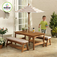 Kidkraft Outdoor Kids Children Table and Bench Set Chair W/ Cushion Umbrella