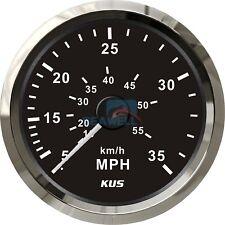 KUS Boat Speedometer Gauge Marine Speedometer Pitot Tube 12V/24V 0-35MPH 85mm