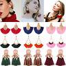 Fashion Women Bohemian Jewelry Fan Tassel Drop Dangle Boho Fringe Stud Earrings
