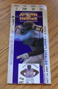 Minnesota Vikings Ticket Stub - October 14 2001 - Cris Carter 126th Career TD