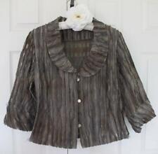Artsy Mack and Mack Textured 100% Silk Stripe Jacket L Olive Green Art to Wear